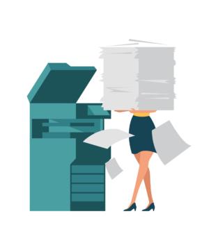 Combien de pages imprime chaque personne à la SWDE par an ?